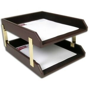 Deluxe Leather Double Letter Trays Office Desktop Tray 2 Tier Desk Paper Holder