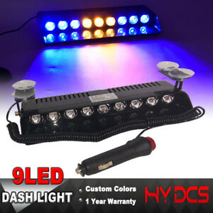 9 Led Strobe Light Car Emergency Warning Hazard Dash Board 12v Blue Amber Yellow