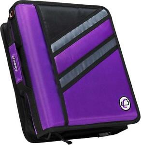 Case it Z binder Two in one 1 5 inch D ring Zipper Binders Purple Z 176 pur