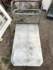 4 Wheel Flatbed Metal Customer Cart With Handle And Basket Wil Holt