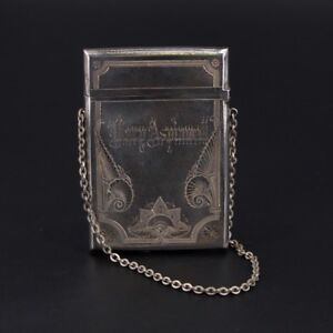 Vtg Sterling Silver Antique Ornate Engraved Calling Card Case With Chain 54g