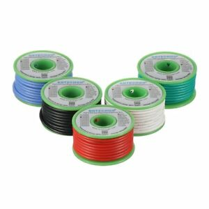 Bntechgo Ultra Flexible 16 Gauge Silicone Wire Spool 5 Color Red