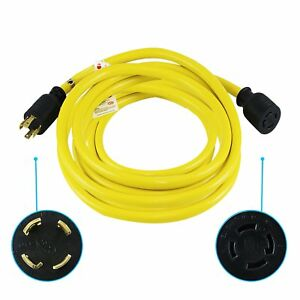 Houseables Generator Cord Electric Extension Wire 4 Prong 30 Amp 125 250v