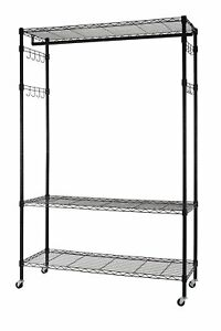 Finnhomy Heavy Duty Wire Shelving Garment Rack With Wheels Rolling Clothes Rack