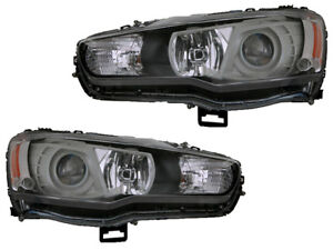 Mitsubishi Lancer Evolution Evo X 2008 2015 Black Projector Headlight Pair Set