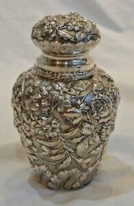 Antique Stieff Sterling Silver Repousse Canister 5 5 Tall