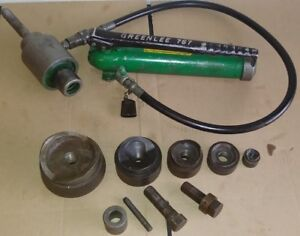 Greenlee 7306 Ram And 767 Hand Pump Hydraulic 5 Knockout Punches