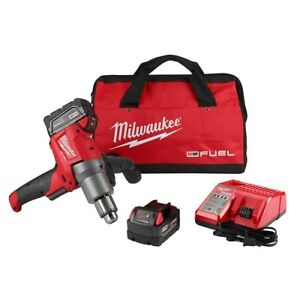 Milwaukee Cordless 1 2 In Mud Mixer Kit 18 v 2 5 0ah Batteries Charger Bag