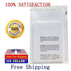 100 12x16 Self Seal Suffocation Warning Clear Poly Bags 1 5 Mil Free Shipping