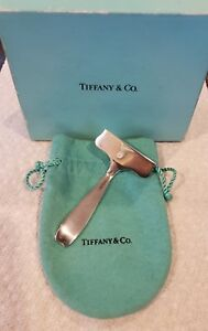 Tiffany Co Makers Vintage Sterling Silver Baby Food Pusher Box Pouch No Monos