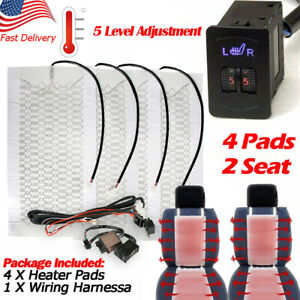 Car Seat Carbon Fiber Heated Cushion Seat Heater Pad Hi off lo Switch Kit 12v