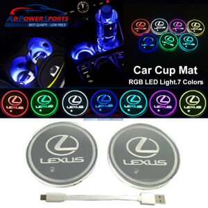 2 X Car Cup Holder Bottom Pad Led Light Cover Atmosphere Lamp Lights For Lexus