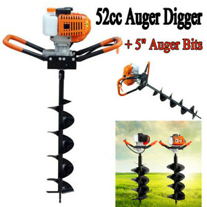 2 2hp 52cc Gas Powered Post Hole Digger With 5 Earth Auger Digging Engine Bit