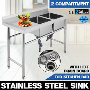 2 Compartment steel Handmade Sink Left Drain Board Apron Cafe Shop Commercial