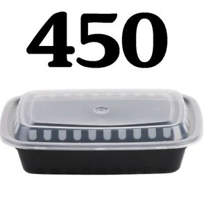 450 Case 28 Oz Black Take Out Microwavable Food Lunch Deli Container Lid Plastic