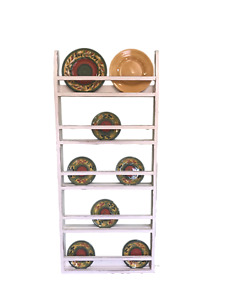 Farmhouse Plate Rack Wall Hanging Country Rustic Plate Rack Stand