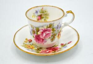 Queens Rosina China Co Cup And Saucer Set Floral Pattern With Gold Trim
