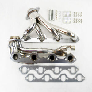 Ford F150 F250 Bronco 87 96 5 8l V8 Shorty Stainless Exhaust Manifold Headers