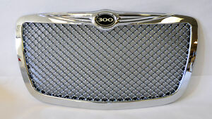 Chrome Honeycomb Front Grill W 300 Badge Fits Chrysler 300 300c 2005 2010