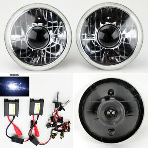 7 Round 10k Hid Xenon H4 Clear Projector Glass Headlight Conversion Pair