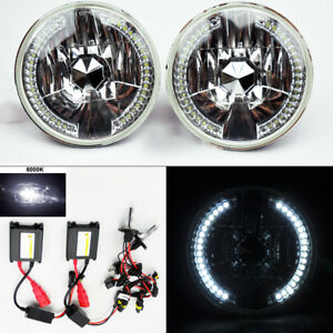 7 Round 6k Hid Xenon H4 Chrome Led Drl Glass Headlight Conversion Pair Dodge