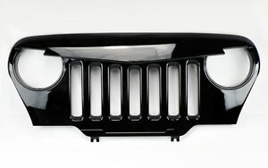 Angry Bird Style Mesh Gloss Black Front Hood Grill Fits Jeep Wrangler Tj 97 06