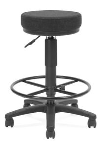 Utility Stool With Drafting Kid In Black Fabric And Seat Height Adjustment