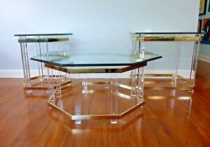 3 Charles Hollis Jones Lucite And Brass Hollywood Regency Tables Coffee End Vtg