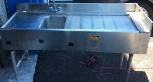 1 Compartment S s Bar Sink With Two Drainboards Nsf 60in