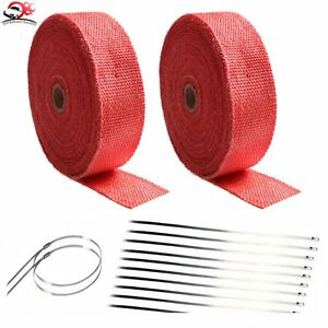 2 Roll X 2 50ft Red Exhaust Header Pipe Heat Wrap Trap Fiberglass 20 Ties