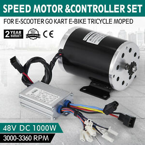 48v Dc Electric Brushed Speed Motor 1000w W Controller Dt8f 11t Bicycle Scooter