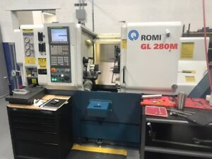 Used 2013 Romi Gl 280m Turning Center Lathe Live Tool Fanuc Tailstock 10 Chuck