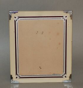 Vintage Art Deco Reverse Painted Photo Frame Having Ruby Gray Cream Colors