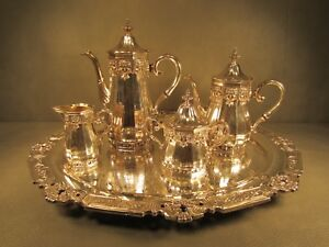 Gorham Hispana 5 Piece Silver Plated Tea And Coffee Set With Huge 24 Inch Tray