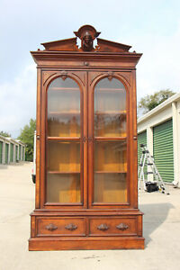 Spectacular Tall Walnut Victorian Bookcase Cabinet With Large Ansonia Head Crown