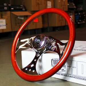 18 Light Wood Steering Wheel Pin Up Big Rig Chrome