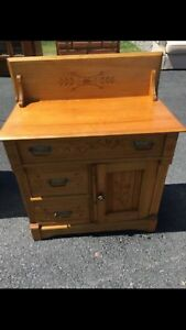 Antique Oak Washstand With Detail Carving