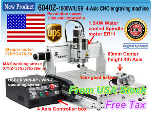 usa 4 Axis Usb Mach3 6040 1 5kw 1500w Cnc Router Engraving Milling Machine 110v