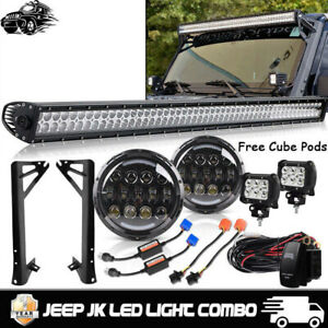 For Jeep Wrangler Jk 52 Inch Led Work Light Bar 7 Headlights 4 Pods Cube