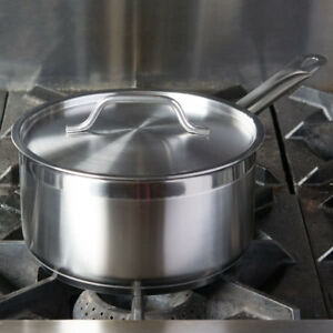 3 5 Qt Stainless Steel Aluminum clad Commerical Sauce Frying Pan W Lid Induction