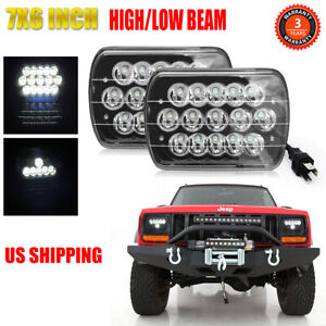 Pair 105w 7x6 5x7 Led Headlights For Chevrolet Jeep Cherokee Xj Wrangler Yj