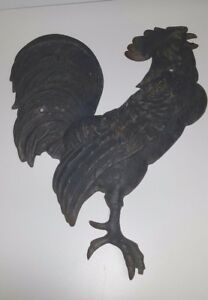 Antique Primitive 1800s Or Earlier Cast Iron Rooster Garden Wall Finial Statue
