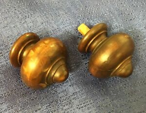 1920 S Wood Walnut Pair Of Curtain Rod Bed Finials Architectural Home Decor