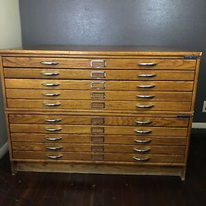 Vintage 10 Drawer Mayline Flat File Drafting Cabinet Oak Wood With Base