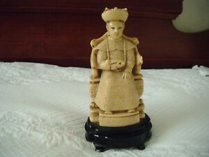 Fine Chinese Japanese Royal Immortal Carved Sculpture Statue 8 In Signed