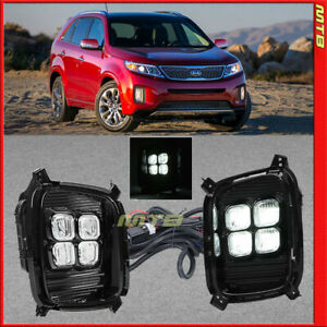 4 Eyes Style Drl Led Foglights For Kia Sorento 2014 2015 Foglamps Harness Switch