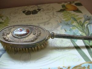 Antique Bronze Clothing Brush With Enamel Victorian Scene Cleaning Grooming