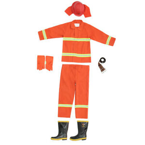 Firemaster Men Orange Work Coverall Fire Suit Boots For Small Firestation