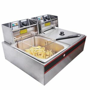 5000w Commercial Electric Deep Fryer Countertop Dual Tank Home Use Restaurant