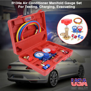 New 12pcs Manifold Vacuum Dual Gauge Set R134a A c Ac Hvac Refrigeration Kit Us